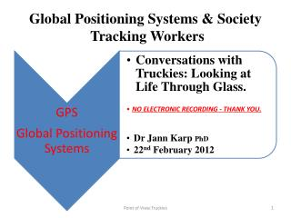 Global Positioning Systems & Society Tracking Workers