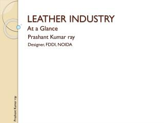 LEATHER INDUSTRY At a Glance