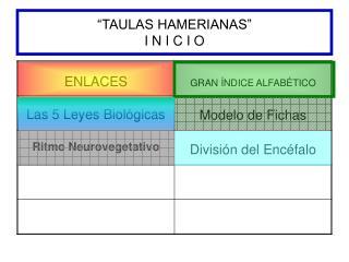 """""""TAULAS HAMERIANAS"""" I N I C I O"""