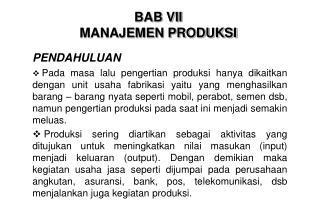 BAB VII MANAJEMEN PRODUKSI