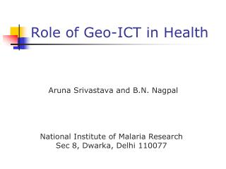 Role of Geo-ICT in Health