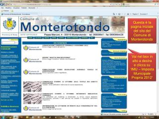 Questa è la pagina iniziale del sito del Comune di Monterotondo
