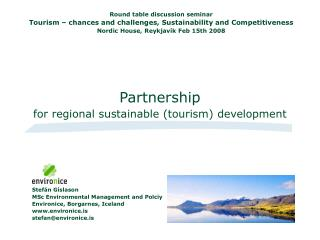 Partnership for regional sustainable (tourism) development