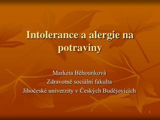 Intolerance a alergie na potraviny