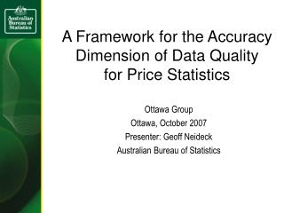 A Framework for the Accuracy Dimension of Data Quality for Price Statistics