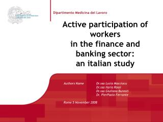 Active participation of workers  in the finance and banking sector:  an italian study