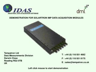 DEMONSTRATION FOR SOLARTRON IMP DATA ACQUISITION MODULES