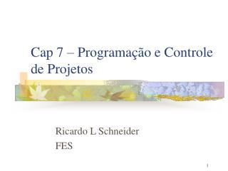 Cap 7 – Programação e Controle de Projetos