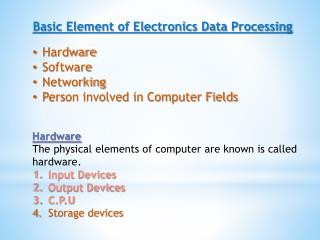 Basic Element of Electronics Data Processing