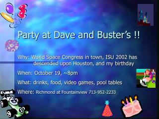 Party at Dave and Buster's !!