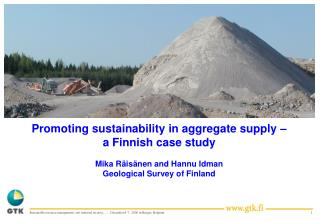 OUTLINE  Introduction: Sustainable development in the context of mineral supply