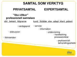 SAMTAL SOM VERKTYG PRIVATSAMTAL  EXPERTSAMTAL