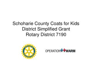 Schoharie County Coats for Kids District Simplified Grant Rotary District 7190