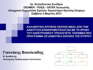 Γιαννάκης Βασιλειάδης Β. Διευθυντής   Λειτουργός Παιδαγωγικού Ινστιτούτου