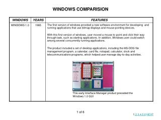 WINDOWS COMPARISION