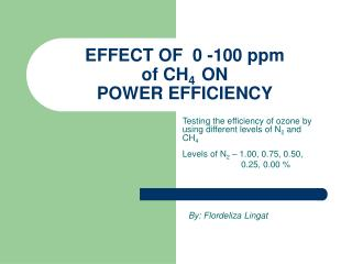 EFFECT OF  0 -100 ppm  of CH 4   ON  POWER EFFICIENCY