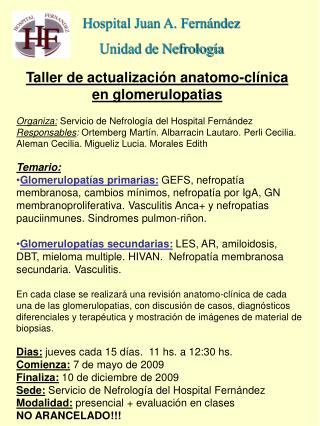 Taller de actualización anatomo-clínica en glomerulopatias