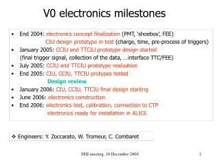 V0 electronics milestones