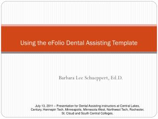 Using the eFolio Dental Assisting Template