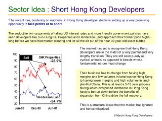 Sector Idea :  Short  Hong Kong Developers