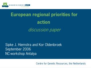 European regional priorities for action  discussion paper