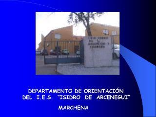"""D E P ARTAMEN TO DE ORIENTACIÓN                          DEL  I.E.S.  """"ISIDRO  DE  ARCENEGUI"""""""