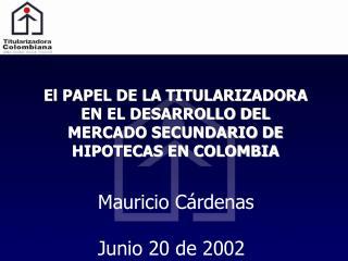 El PAPEL DE LA TITULARIZADORA EN EL DESARROLLO DEL MERCADO SECUNDARIO DE HIPOTECAS EN COLOMBIA