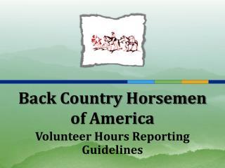 Back Country Horsemen  of America
