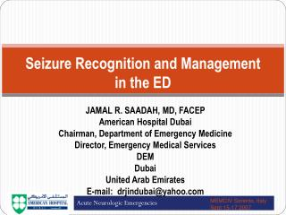 Seizure Recognition and  Management  in the ED