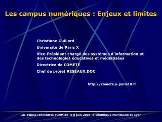 Les campus numériques : Enjeux et limites