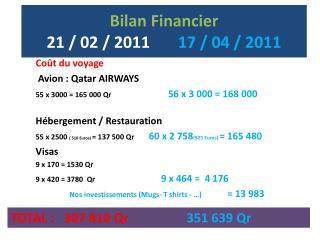 Bilan Financier  21 / 02 / 2011        17 / 04 / 2011