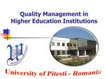 Quality Management in Higher Education Institutions