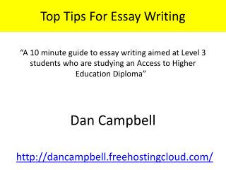 Top Tips For Essay Writing