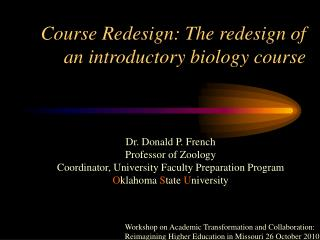 Course Redesign: The redesign of an introductory biology course