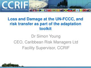 Loss and Damage at the UN-FCCC, and risk transfer as part of the adaptation toolkit
