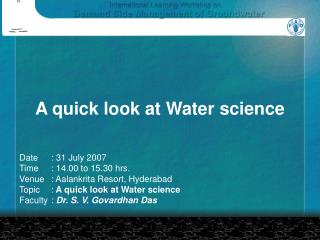 A quick look at Water science