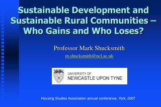 Sustainable Development and Sustainable Rural Communities