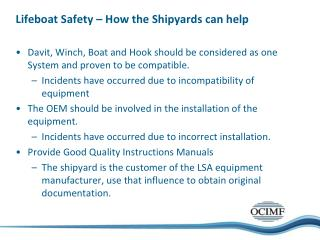 Lifeboat Safety – How the Shipyards can help