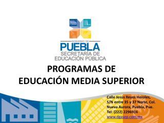 PROGRAMAS DE  EDUCACI N MEDIA SUPERIOR
