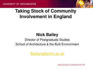 Taking Stock of Community Involvement in England