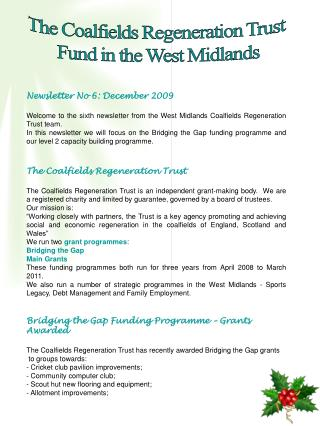 The Coalfields Regeneration Trust  Fund in the West Midlands