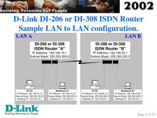 D-Link DI-206 or DI-308 ISDN Router Sample LAN to LAN configuration.