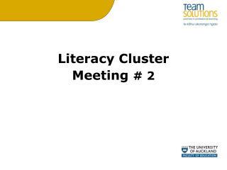 Literacy Cluster  Meeting  #  2