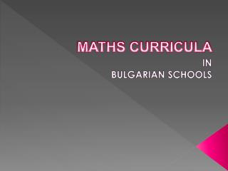 MATHS CURRICULA