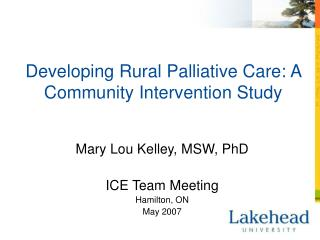 Developing Rural Palliative Care: A Community Intervention Study