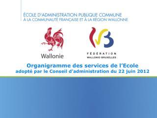 Organigramme des services de l'Ecole adopté par le Conseil d'administration du 22 juin 2012