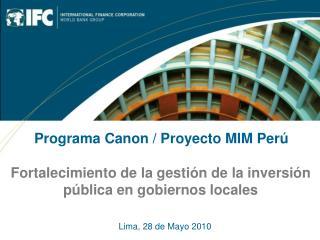 Fortalecimiento de la gestión de la inversión pública en gobiernos locales
