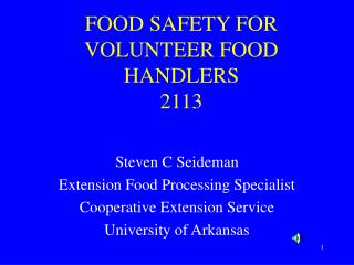 FOOD SAFETY FOR VOLUNTEER FOOD HANDLERS 2113
