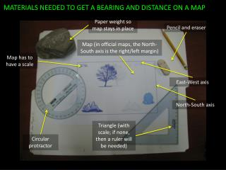 MATERIALS NEEDED TO GET A BEARING AND DISTANCE ON A MAP