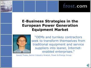 E-Business Strategies in the European Power Generation Equipment Market